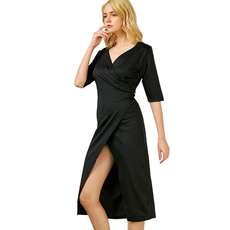 Женский большой размер V-образным вырезом нижний платье женское сезон сексуальный свободный сплошной цвет сладкий милый 84xiqjubdd