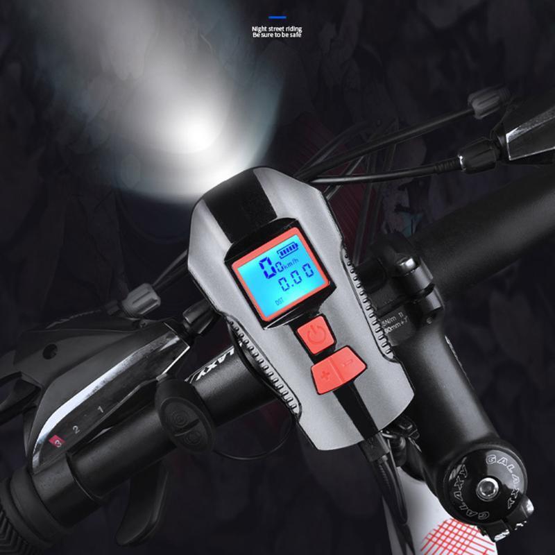 USB-Wiederaufladbare Fahrradlicht LED-Fahrrad-Licht Frontschrittschrank-Scheinwerfer-Camping-Kopf mit Horn-Geschwindigkeitszähler LCD-Bildschirm 7.17