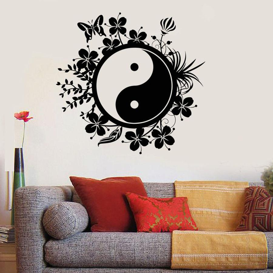Yin Yang Wall Decal Eastern Yoga Buddha Meditation Decals Bedroom Yoga Studio Gym House Decoration Art Vinyl Wall Sticker 1798