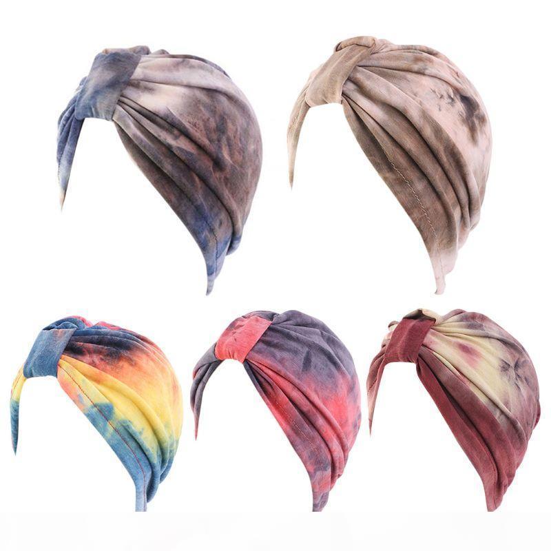 Mujer étnica gradiente corbata turbante sombrero pérdida de pelo quimio gorra nudo musulmanes hijab