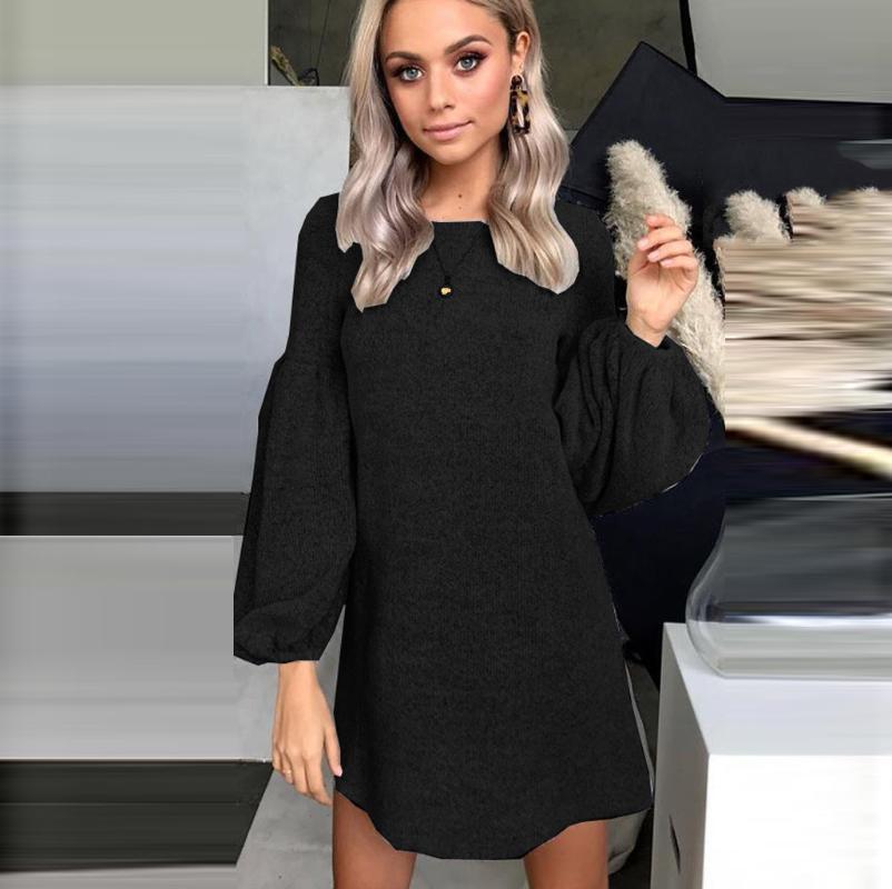 Curto fundo longo lanterna manga senhoras vestido moda mulheres o-pescoço inverno vestido preto roupas mulheres 2xl vestido manga larga