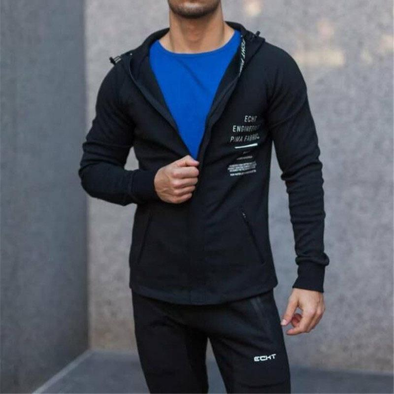 Homens muscular fitness outono inverno novo esportes lazer algodão acolchoado jaqueta correndo montanhismo com capuz camisola
