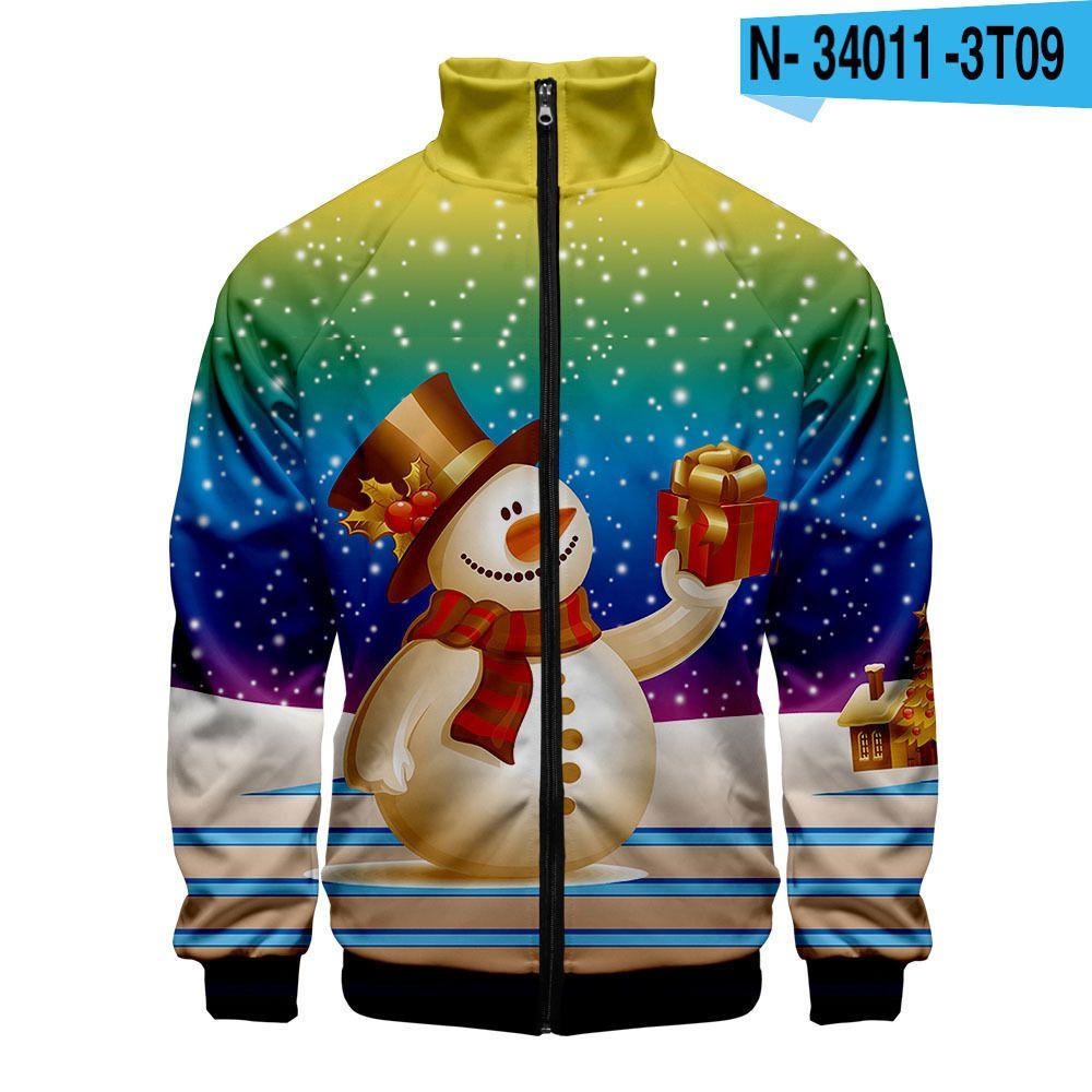 Hip Hop Kpop Christmas Zipper Jaquetas Presente Jaqueta bonito Moda Casual Highstreet roupas menino / menina outono inverno boneco de neve tops
