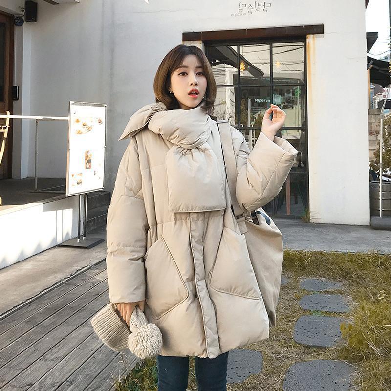 Утка 2020 зимних женщин сплошной 90% белый с шарфом теплый женский куртка пальто свободно негабаритные женские длинные вниз Parka 6252