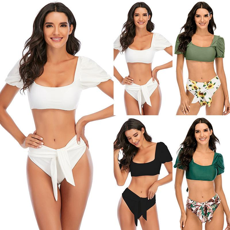 2021 Sexy U Neck puff Sleeve Biquini Swim Bathing Suit Swimsuit front knotted tie Thong Swimwear Women Bikini CY4049