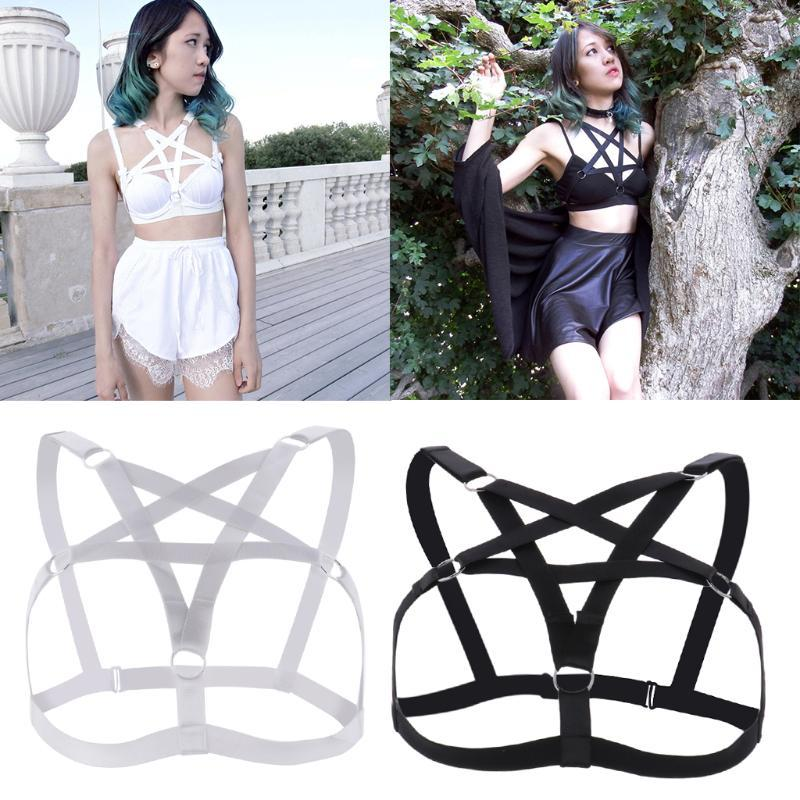 Sütyen Kadın Kızlar Seksi Goth Pentagram Lingerie Hollow Strappy Koşum Kafes Sutyen Cupless Vücut Zincir Kemer Gotik Kostüm