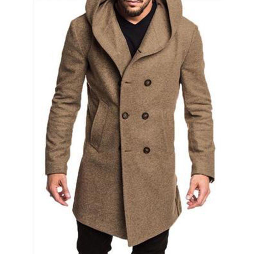 Abrigo para hombre Color sólido Botones de manga larga Chaqueta de bolsillo Casual Sudadera con capucha Cálida abrigo Invierno Plus Tamaño OutwearEx1121