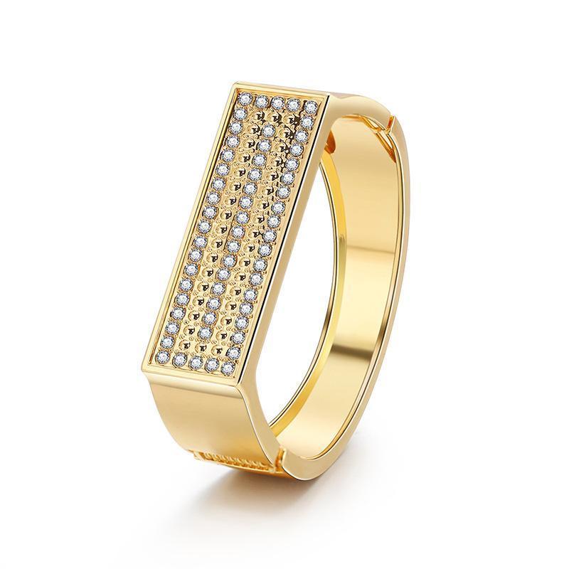 Altın Renk Basit Tasarım Kristal Geniş Bilezikler Trendy Bir Mektup Şekil Düğün Bilezikler Takı Kadınlar Için