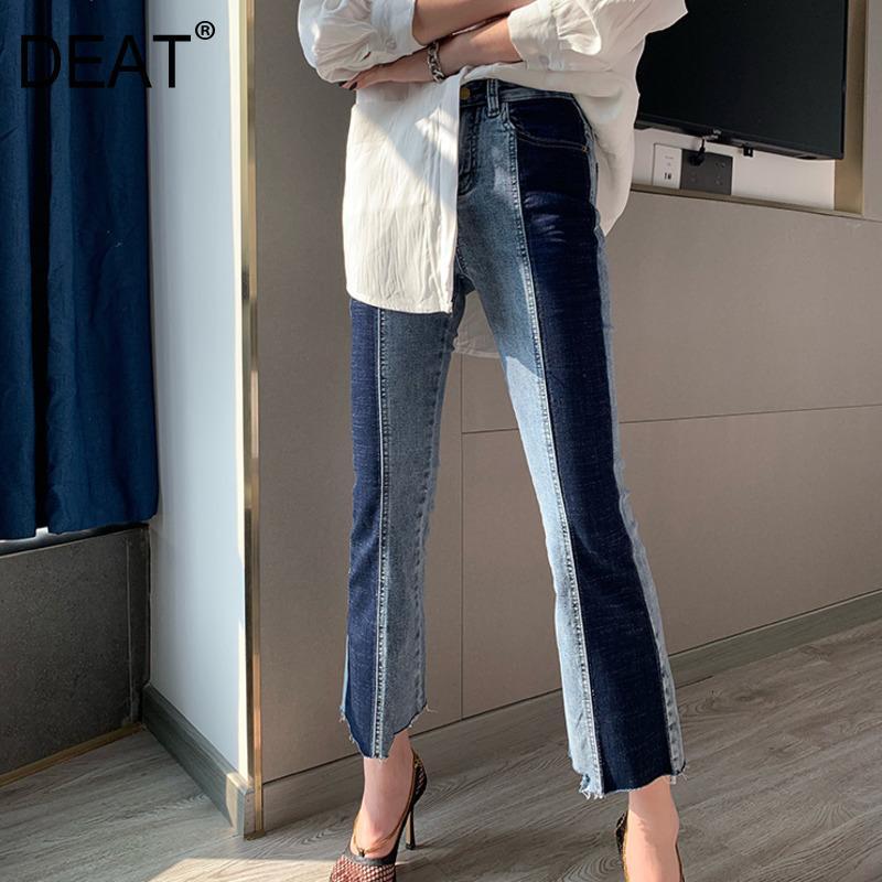 [DRATIE] 2020 NOUVEAU Mode Livraison rapide Denim Jeans Femmes Flare Tour haute queue Slim Retro Color Block Block Vêtements de quartier