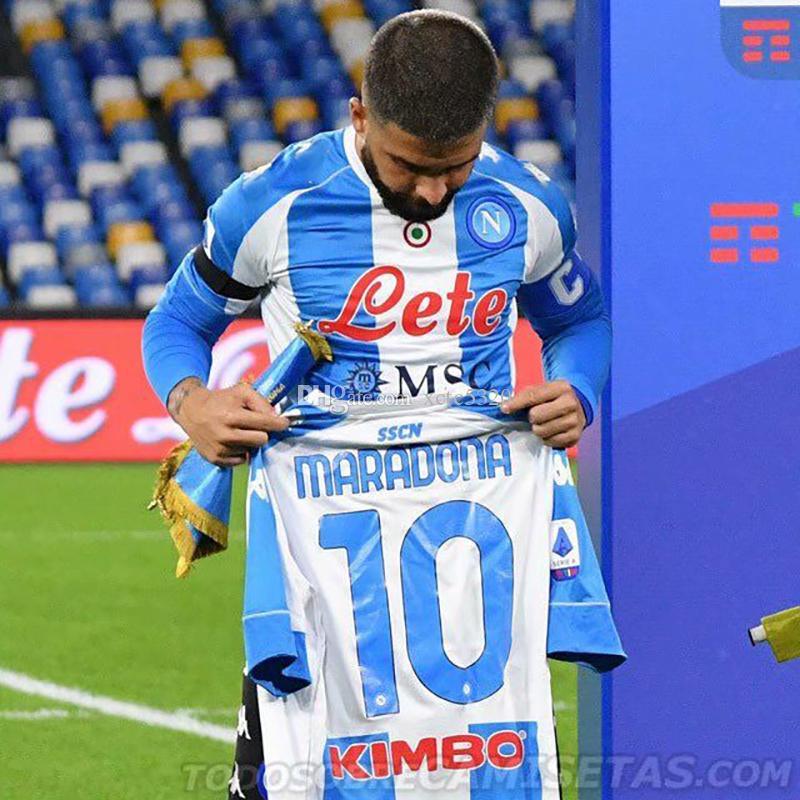 Retro Maillot Maradona Napoli Soccer Jersey Vierter Spielerversion Gedenken an dasgo Maradona-Fußball-Hemd auf Lager