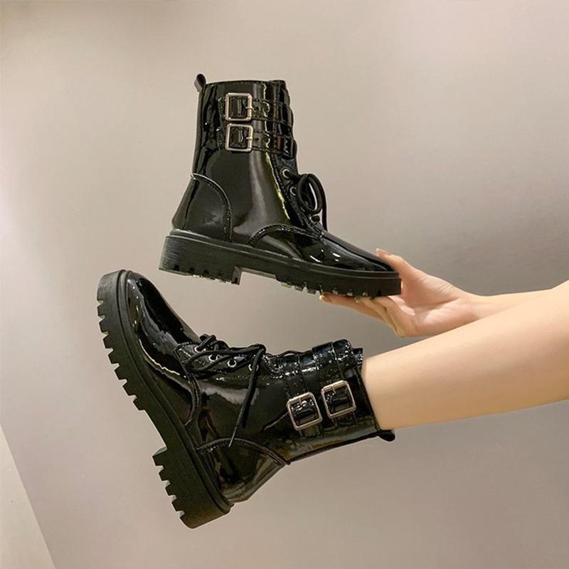 Botas zapatos de mujer tobillo hebilla correa bloque tacones moda motocicleta fresco calle cuero damas otoño 2021 hembra calzado