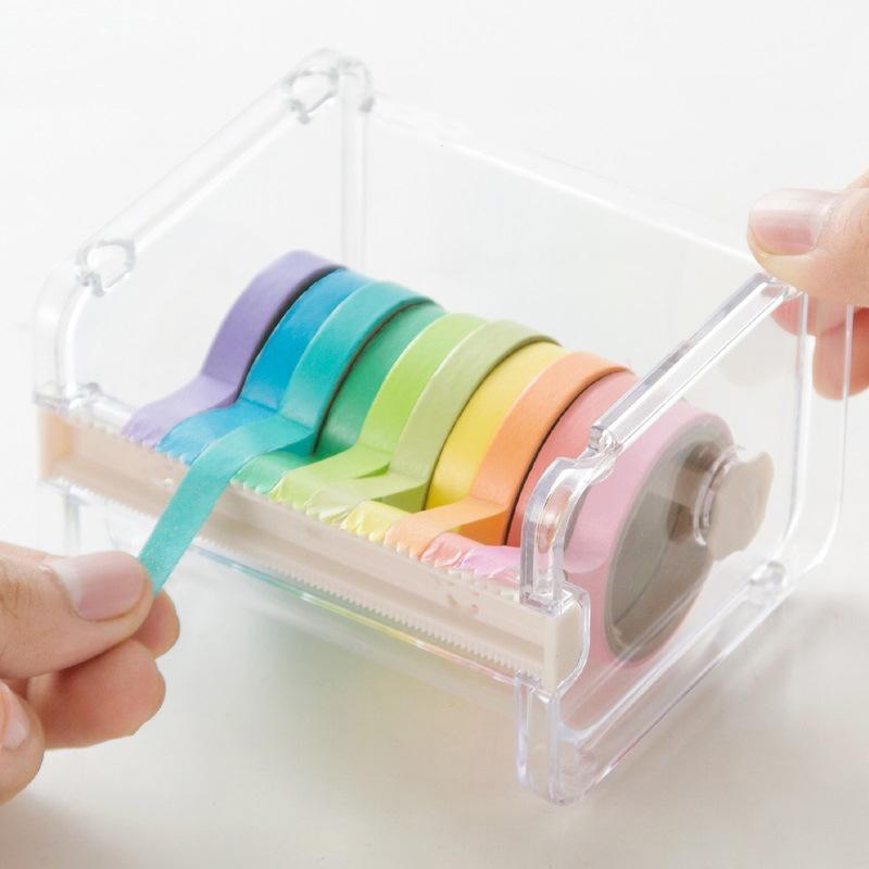 موزعات التعبئة الشريط 1 pctransparent بسيط اخفاء القاطع واشي موزع الإبداعية البلاستيك تخزين المنظم اللوازم مكتب المدرسة 1