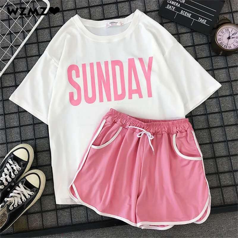 Mädchen Casual Pijama Zweiteiler Mode Sunday Print Kurzes Set Pyjamas Süße Kurzarm Damen T-Shirt Kordelzug Shorts Y200708