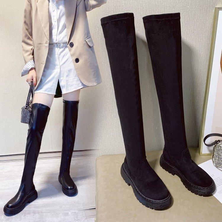 Botas negras sobre la rodilla zapatos de mujer plataforma muslo alto invierno largo 2021 gruesa suela botas mujer