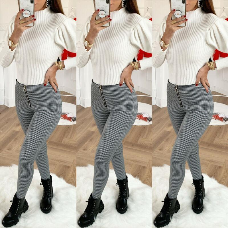2020 Newest Hot Women Ladies Sexy Slim Fit Houndstooth Pants Ladies High Waist Zipper Office Long Pants Office Outfit