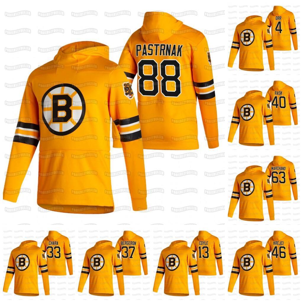 Jóvenes David Pastrnak Boston Bruins 2021 Retro Retro Bobby Orr Coyle Ondrej Kase Marchand Johansson Krejci Tuukka Rask Hoodie Jersey