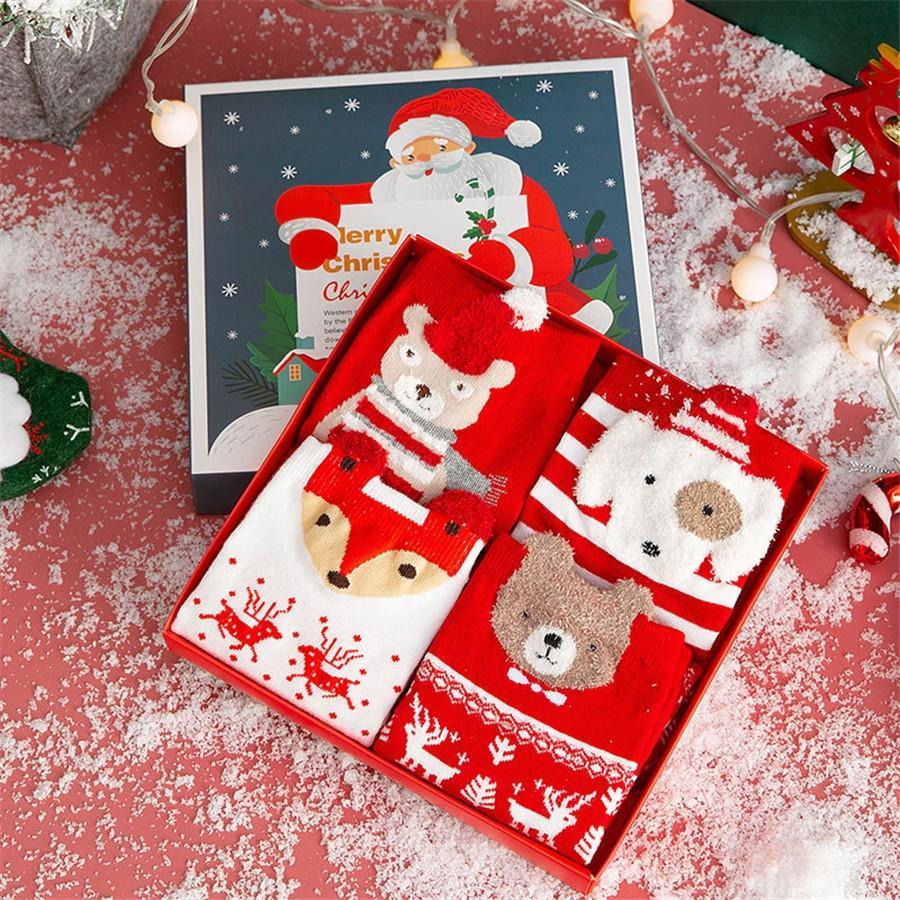 1Pair Chaussettes de Noël coton laine de neige flocons de neige hiver chaussettes chaudes filles filles xmas home boot sox # 388