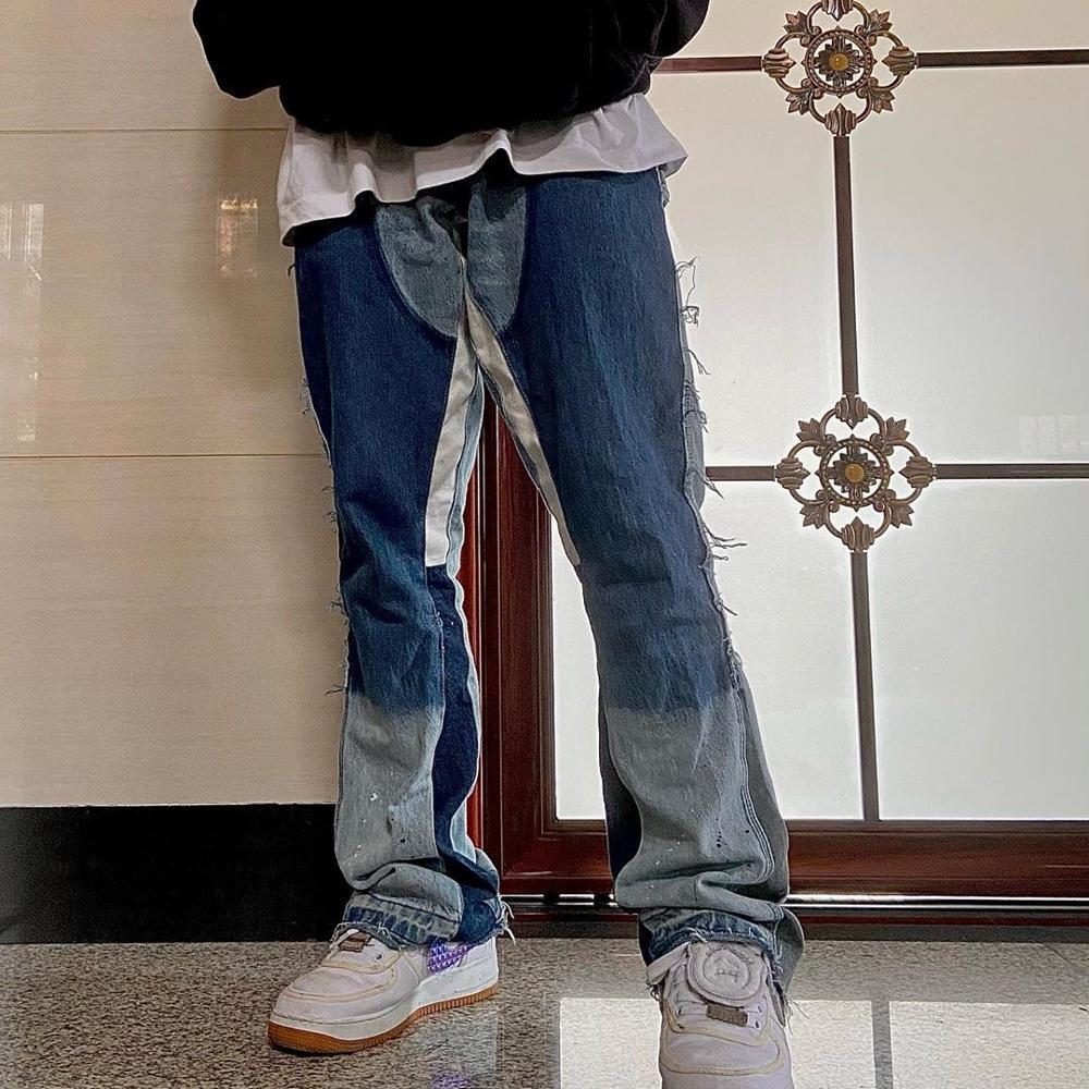 Мужские Relaxedbell Нижний комфорт в расклешенном ретро ногах джинсовые джинсы личности Slim Fit на молнии джинсовые брюки J1208