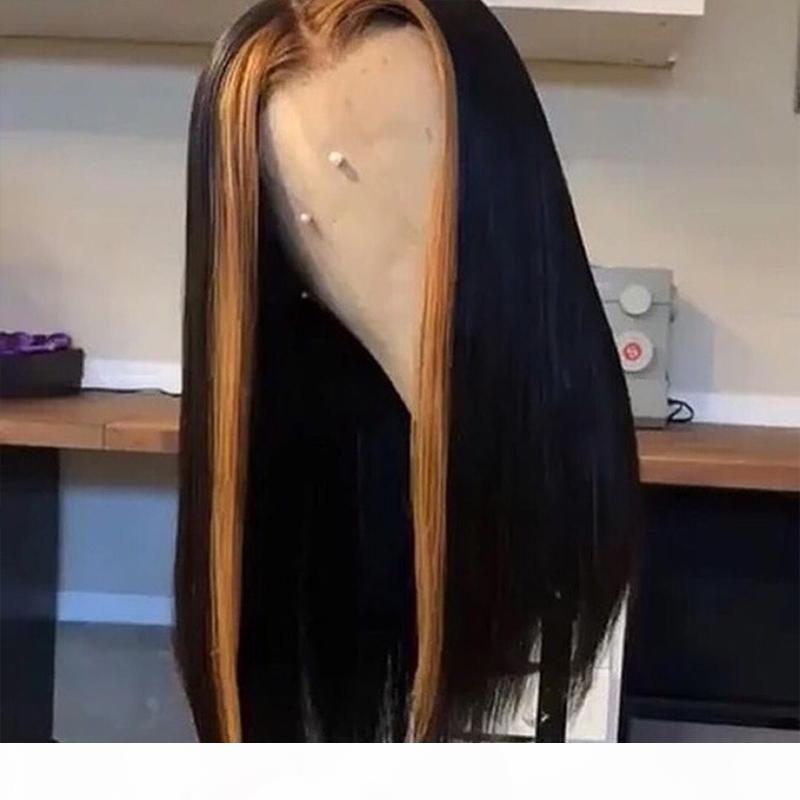 4x4 M Düz Peruk Ombre Vurgula Peruk 150% Dantel Ön İnsan Saç Peruk Siyah Kadınlar Için Brezilyalı Remy Saç Dantel Kapatma