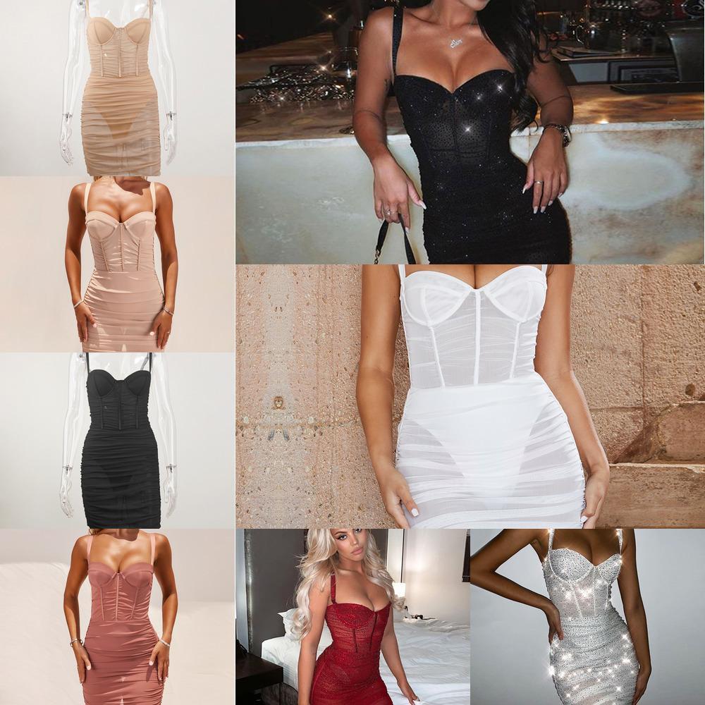 Giyu sexy clube festa malha vestido mulheres 2020 verão ver através de mini bodycon vestidos mangas sem mangas ruched sundress pad rouba q1217