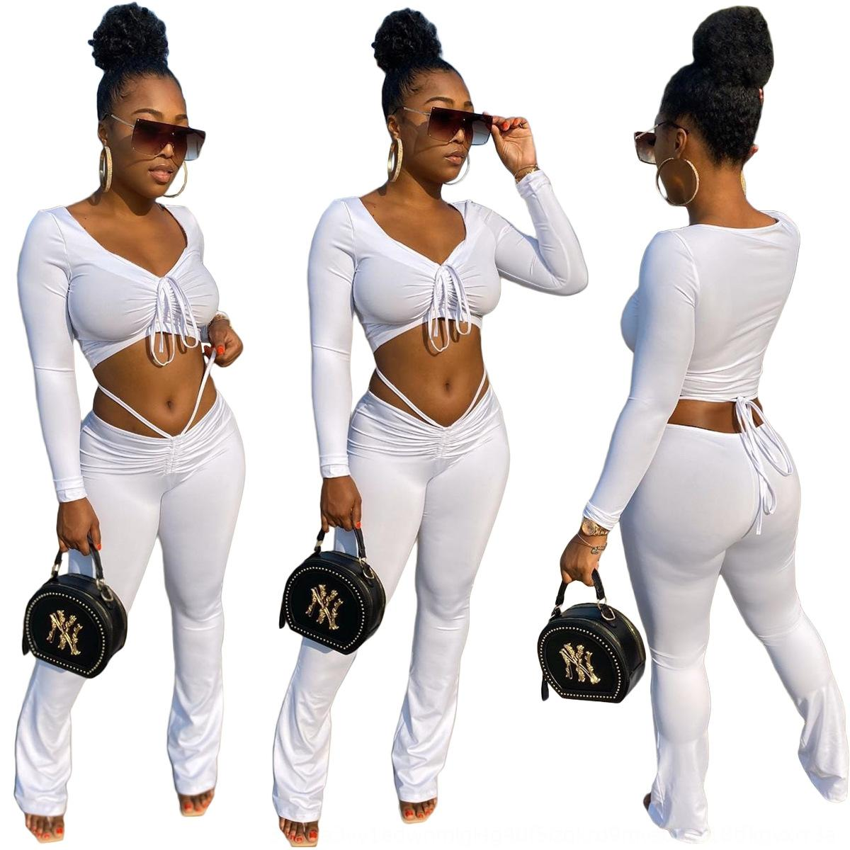 ftCT Sexy Women Tracksuit 2 Piece Set Fashion Pleated Long Color Sleeve Gradient T Shirt Pencil Pants Ladies Outfite Casual Sports Suit New