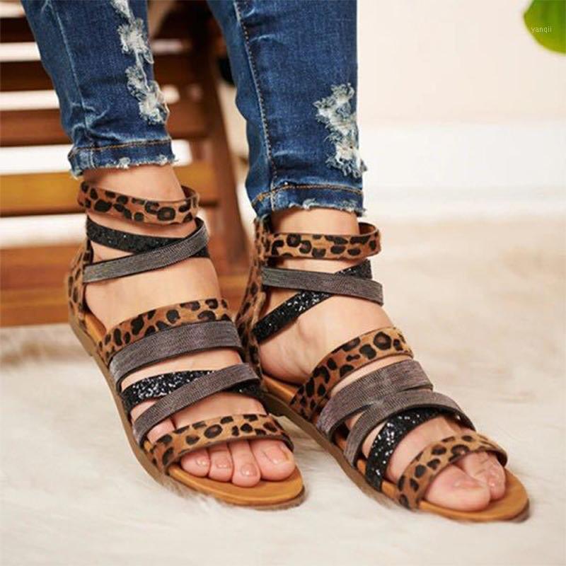 2021 mujeres sandalias roma leopardo cruz banda serpiente patrón pisos sexy zip zapatos damas moda 2021 verano calzado más tamaño1