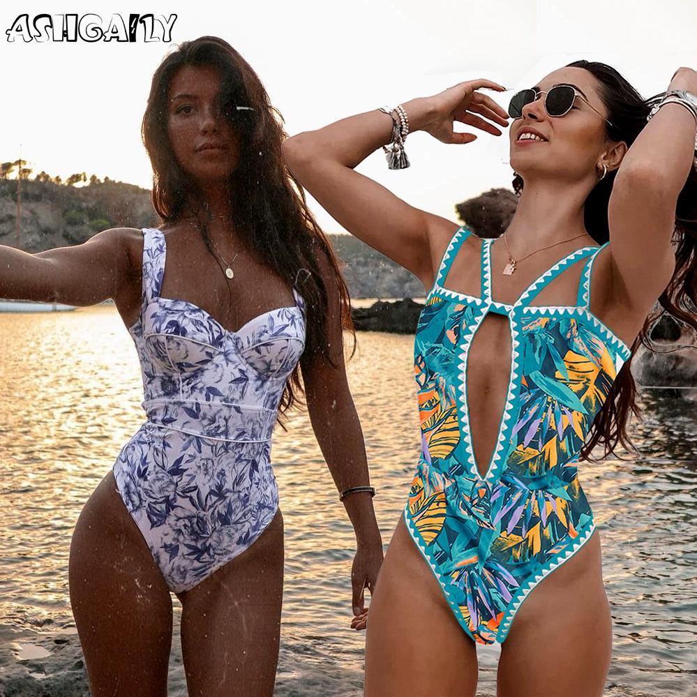 Ashgaily 2021 Neu einteiliger Badeanzug Sexy Cartoon Gedruckt Bademode Frauen Badeanzug Strand Backless Monokini Badeanzug Weibliche B1203