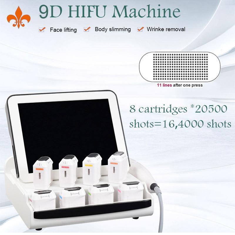 Taşınabilir HIFU Makinesi 9D HIFU Kilo Kaybı Yüz Kaldırma Vücut Zayıflama 8 Kartuşlar 20500 Çekim ile Bir Catridge