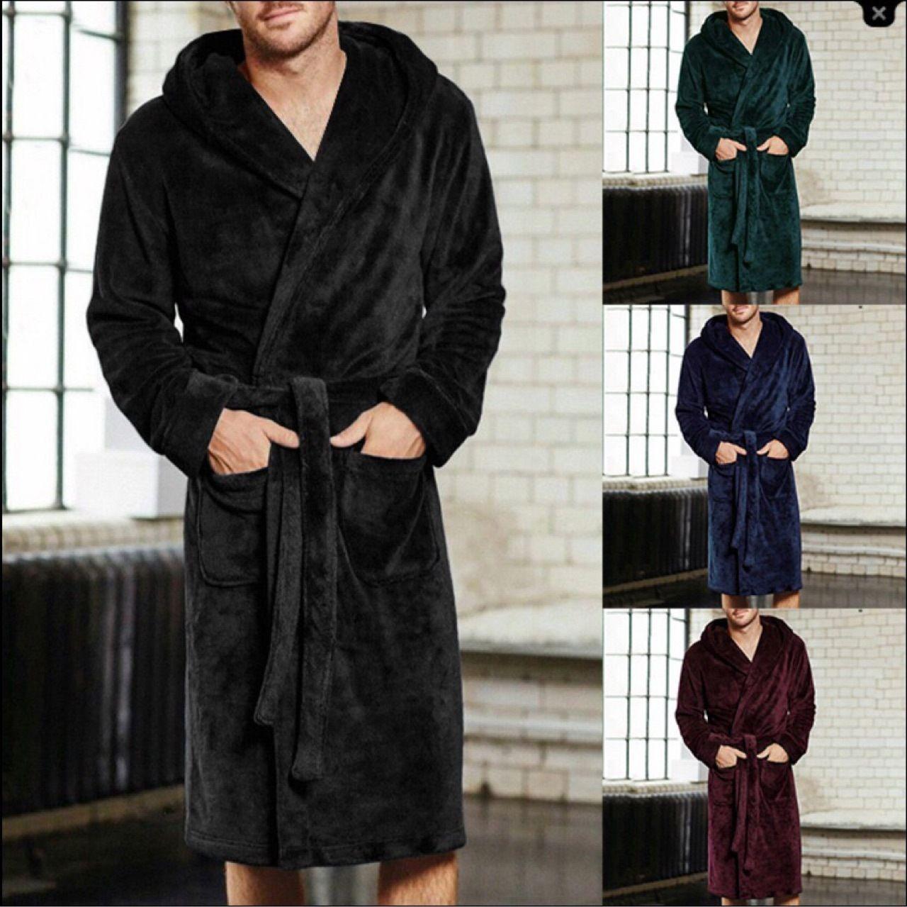 Hommes Super Soft Soft Porte-serviettes Purable Fleece Longue Bain Robe Hommes Mode Peigneur de peignoir Mâle Robe de robe Robe Porte-serviette portable LLS142