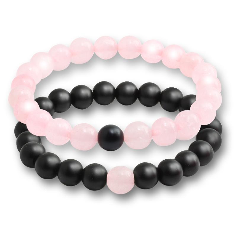 2 pcs / Set Bracelets pour femmes Lava Naturel Stone Blanc et Noir Yin Yang Hommes Perles Bracelet Couples Distance Yoga Bracelets Love