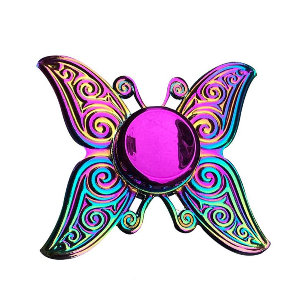 Office Finger Anxiety Relief Stress Fidget Gyro Flower Tower / Spider Metal Hand Tri Spinner Model O0WI