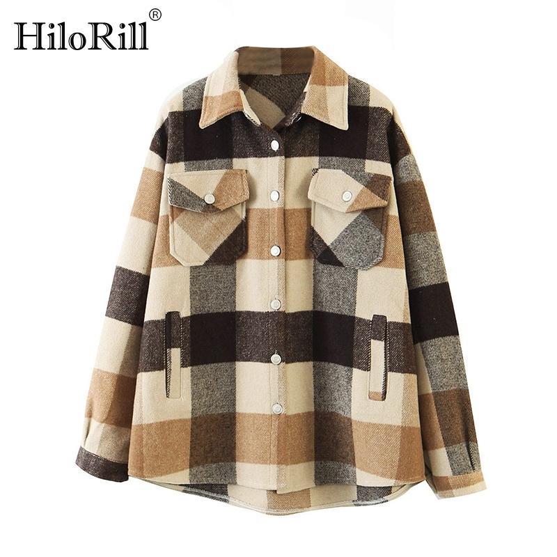 Hilorill Femmes lâche laine décontractée veste à carreaux de laine tourbillonnez le collier manteau de mode avec poches automne à manches longues de femme manches manteaux B1203