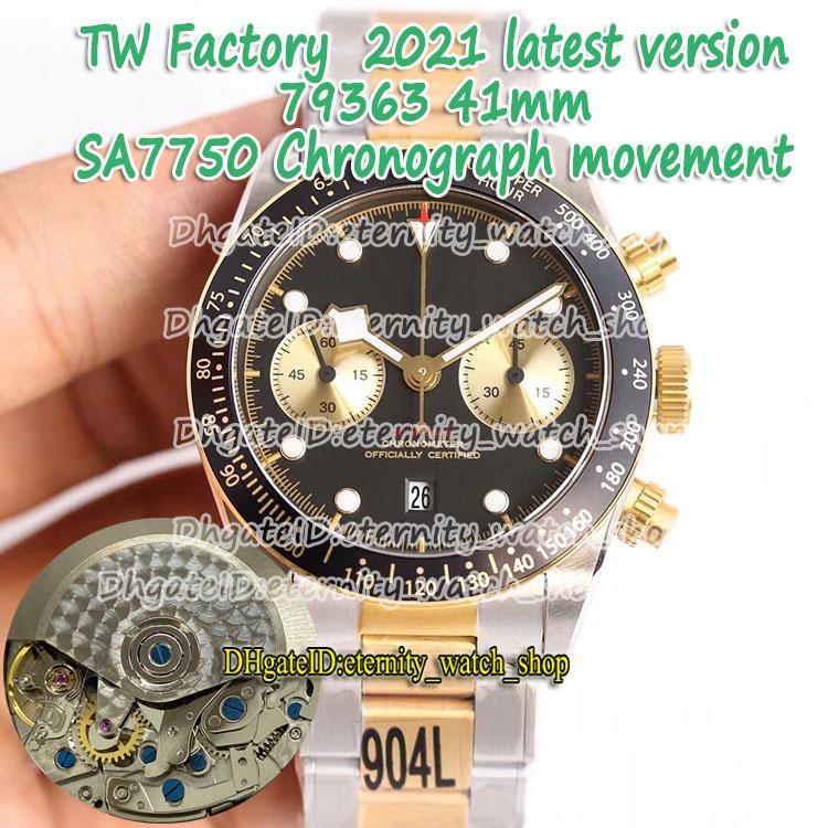 Eternity 2021 TWF Última versão 316L Caso de Aço Dois Tom Strap ETA SA7750 Cronógrafo Automático Discagem Branca 79363 Mens Watch Sport Watches