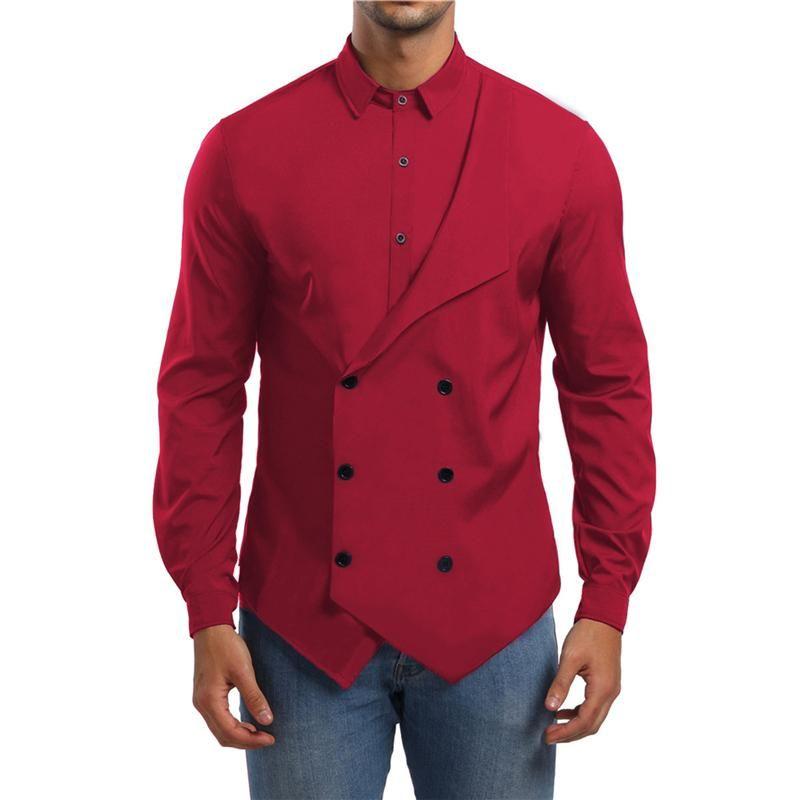 Дизайн этап рубашки Популярная мужская одежда двубортная фальшивая две рубашки с длинными рукавами мужские повседневные рубашки мужские моды