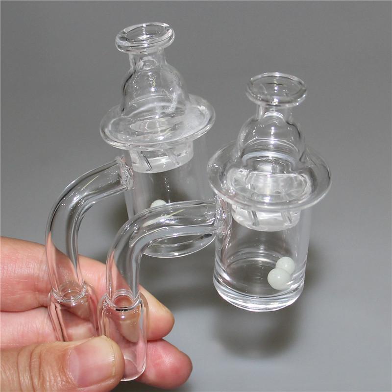 Venda quente de quartzo kit de quartzo com grânulos de rubi e giro tampão de carboil 90 ° feminino masculino 14mm 18mm banger prego para vidraça