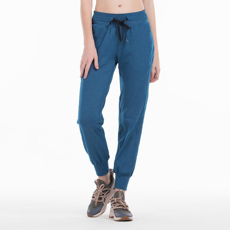 Çıplak-hissediyorum Kumaş Egzersiz Spor Joggers Pantolon Kadın Bel İpli Fitness Çalışan Ter Pantolon İki Yan Cep Stil KG-99 ile