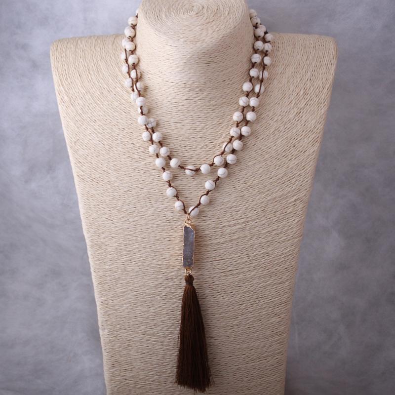 Kolye Kolye Moodpc Moda Beyaz Taşlar Düğümlü Halat Druzy Link Uzun Püskül Kolye El Yapımı Kadınlar Doğal Taş