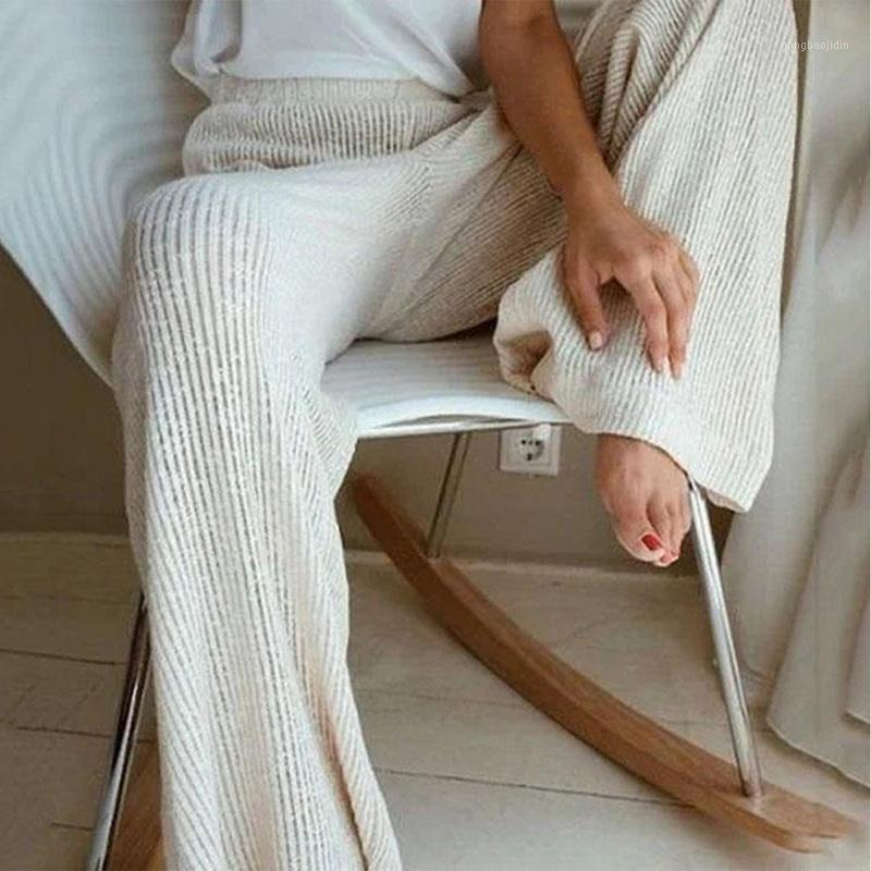 Wenyujh 2020 outono inverno novo casual calças retas feminino cordão solta cintura alta malha calça de perna larga calça casual1