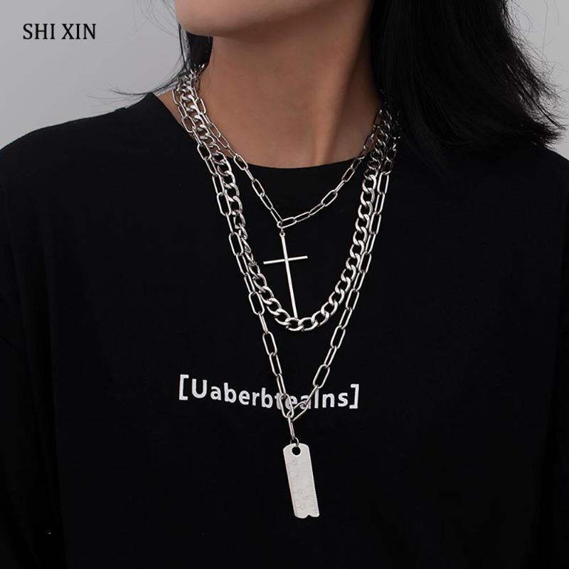 Shixin 3 pcs / Set Chaîne en couches avec collier de pendentif cross / carré pour femmes / hommes HiPhop Chunky Chain Collier Collier 2020 Mode