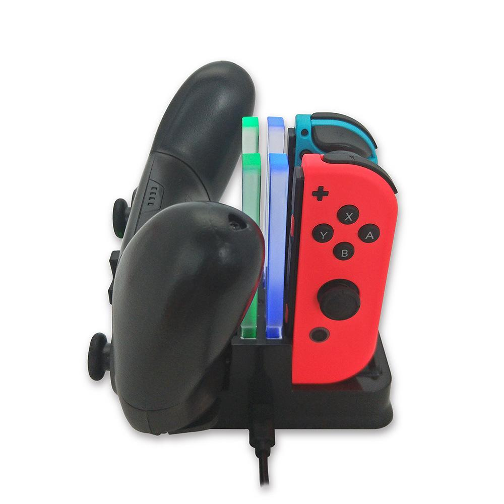 4 in1 شحن قفص الاتهام ل Nintend التبديل Joy-Con تحكم شاحن LED ل Nintendo Switch Pro Gamepad Charge Content NS Switch