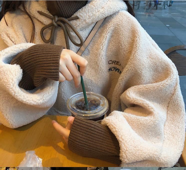 Yeni Trend 2020 Kış Yeni Trendi Peluş Kalınlaşmış Kuzu Yün Üst Kadın Kazak Gevşek Kapüşonlu Sahte İki Kore Yüksek Yaka Kazak