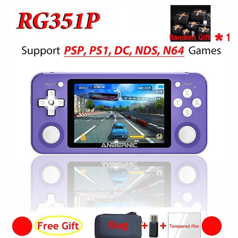 RG351P RG350P Handheld Game Player 64GB Emuelec Система PS1 64Bit игры IPS RG351 карманный портативный ретро консоли Наушники подарков