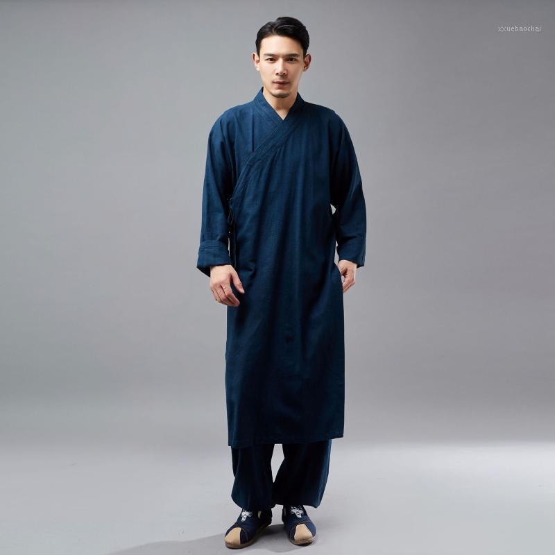 Мужские повседневные рубашки Мужчины длинные китайские костюмы рубашки роянки мужской рукав сплошной цвет свободная рубашка1
