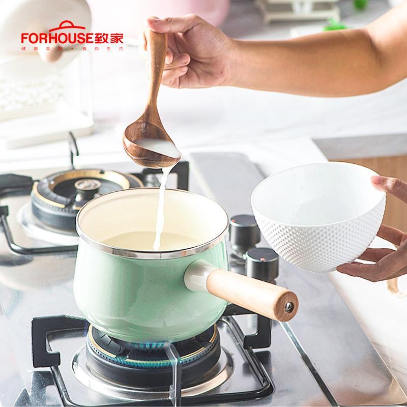 Porselen Elemeled Süt Pot Yapışmaz Mini Çorba Pot Kapak İndüksiyonlu Evrensel Soba Uygulama Tencere T200111
