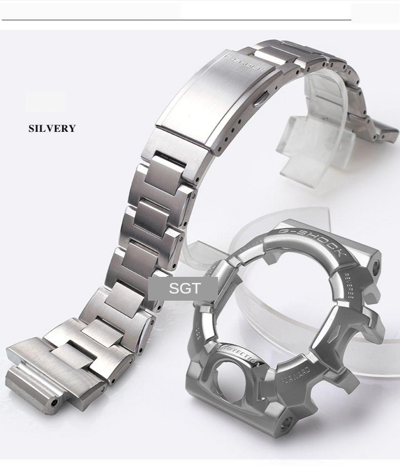 Pour GW-9400 316 Sliver Sliver Watchband Gold Hommes Metal Buckle Band Watch Case Bezel Outil LJ201123
