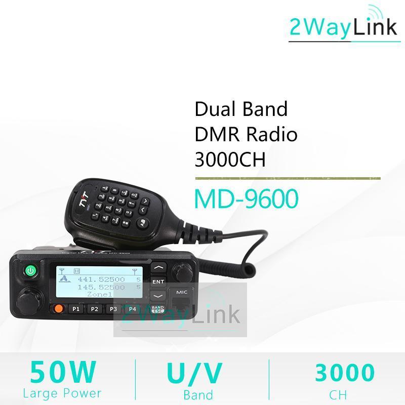 TYT MD-9600 토키 워키 50 km 모바일 DMR 자동차 라디오 디지털 136-174 / 400-480MHz 듀얼 밴드 RT90 DMR 라디오 3000ch 50 / 45 / 25W FCC