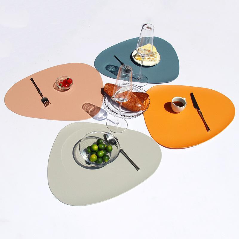 2/3 / 4 pcs Place Mat Tab Almofada Placemat Table Esteira Calor Isolamento PU Couro Placemats Coaster Coaster Cozinha Non-Slip Y1127