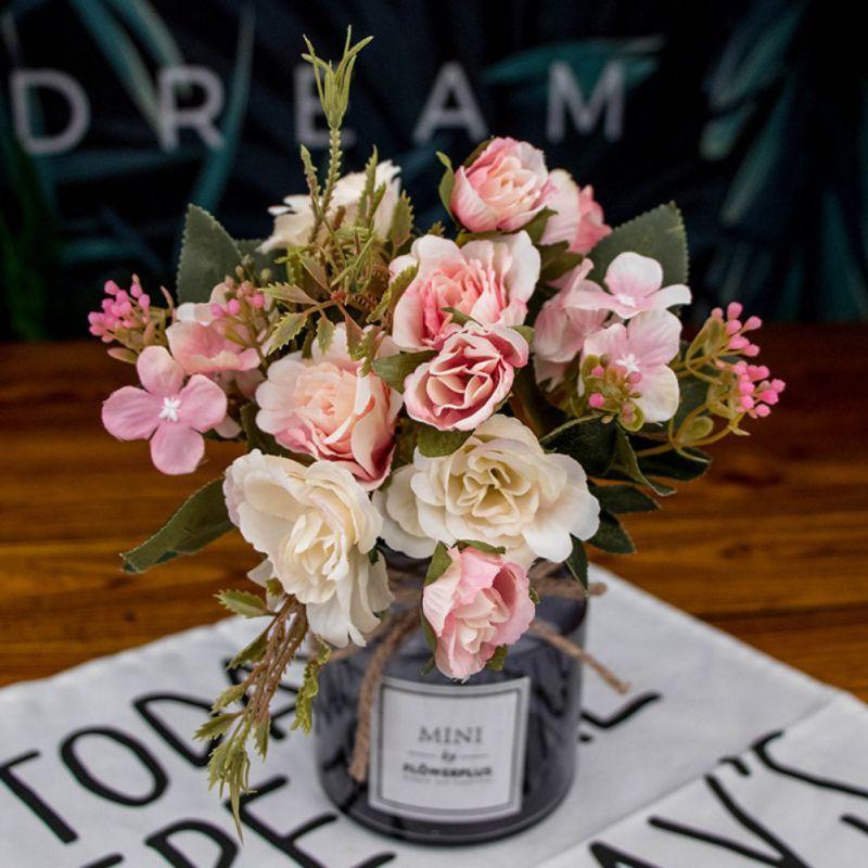 خمر الحرير الاصطناعي الزهور روز الصغيرة زفاف وهمية مهرجان الزهور لوازم ديكور المنزل باقة DIY الديكور الحزب