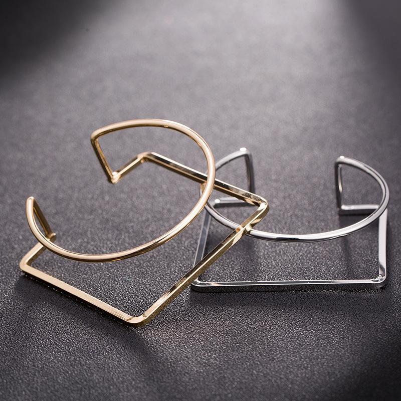 2020 Новая тенденция преувеличенный металлический медный материал браслет для женщин творческая личность геометрические круглые квадратные украшения