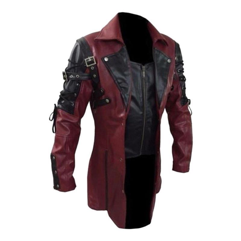 Erkek Ceket Moda Vintage Deri Ceketler Biker Motosiklet Fermuar Uzun Kollu Ceket Üst Bluzlar Yüksek Kaliteli Erkek Palto Yeni